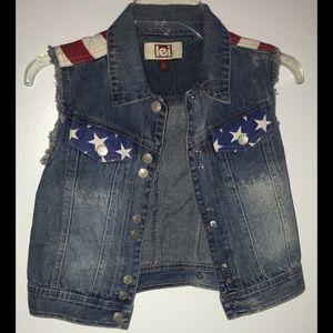 American Flag Denim Button Up Vest